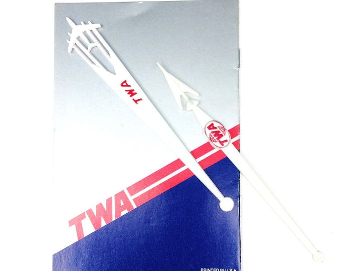 Vintage TWA Airline In-Flight Dinner/Drink/Cocktail Menu & 2 Swizzle Sticks