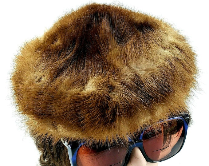 Vintage Ladies Designed by Lora Brown Mink Fur Women's Pillbox Hat