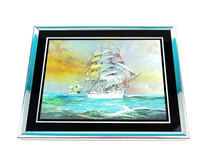 Vintage Nautical Framed Foil Clipper Ship Colecraft Industries Wall Hanging