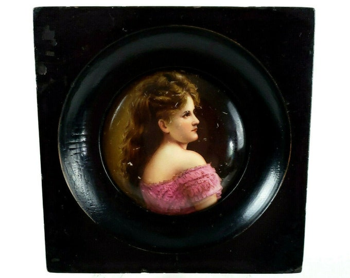 Antique Miniature Portrait Painting Lovely Young Woman on Porcelain Framed