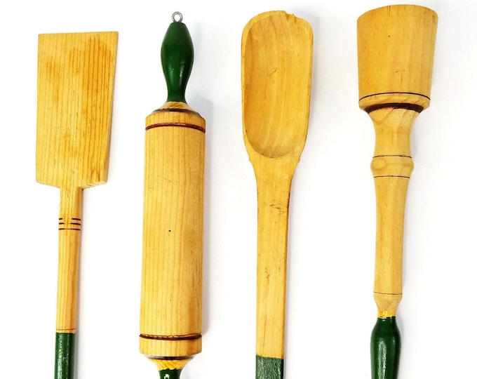 Vintage Wooden Green Handle 4 Pc Hanging Kitchen Utensil Set Rolling Pin/Spoon bt