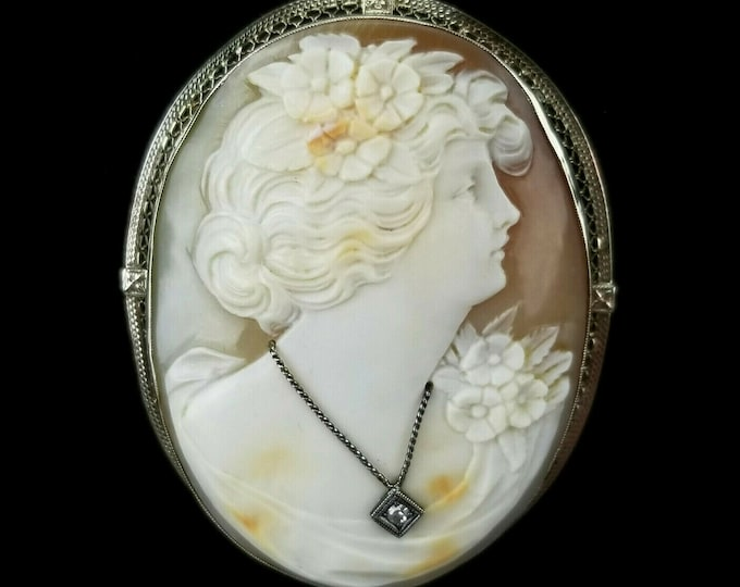 Antique Victorian 14kt Gold Carved Shell Cameo Diamond Brooch Necklace Pendant