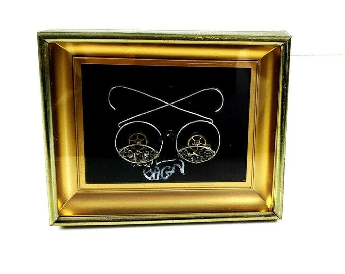 Vintage Steampunk Eyeglasses Eyes Watch Clock Parts Artist Signed Art Collage
