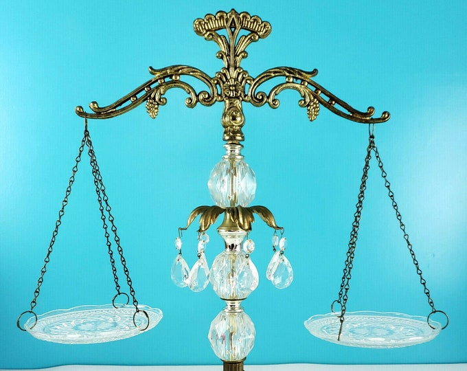 Vintage Ornate Cut Crystal Prism Brass & Italian Marble Scales of Justice mnd