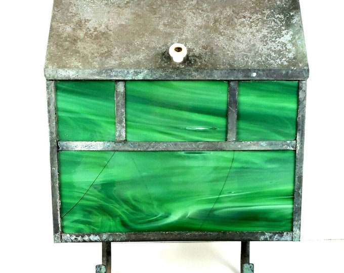 Antique Vintage Green Swirl Slag Stained Art Glass Copper Metal Large Mailbox