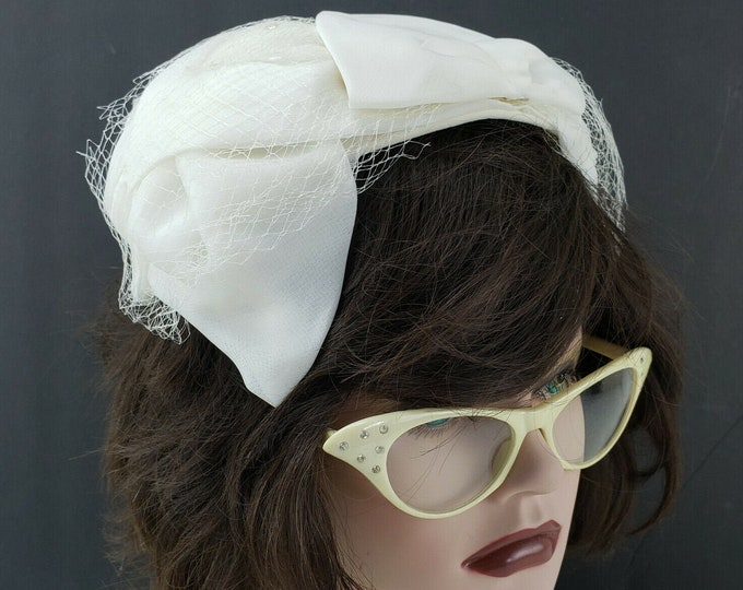 Vintage Ladies Womens White Lace Bridal Bandeau Fascinator Hat Headband