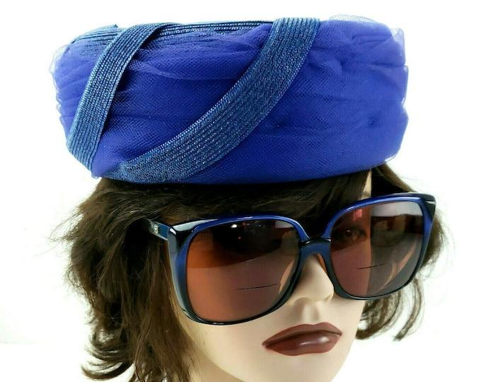 Vintage 1950s Vivi by Elite Blue Ladies Women's Pillbox Hat