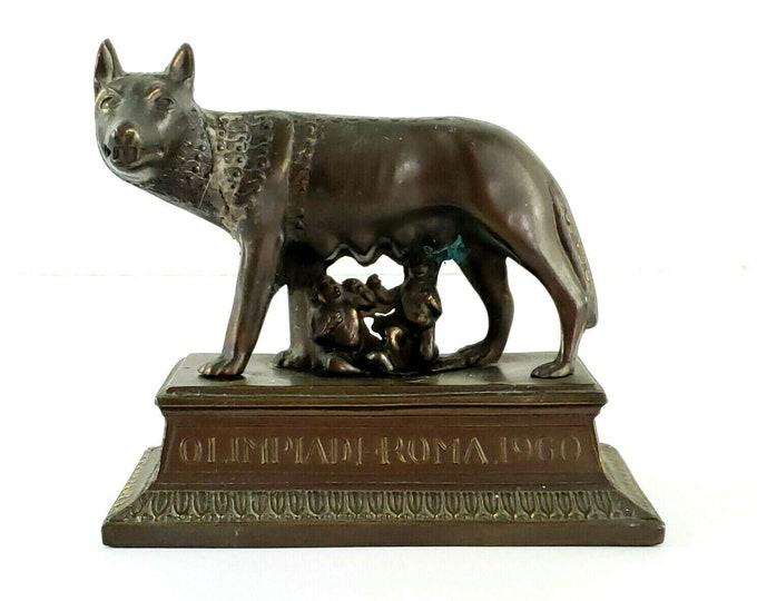 Capitoline Wolf Romulos & Remus Rome Italy 1960 Olympics Olimpiadi Sculpture bt