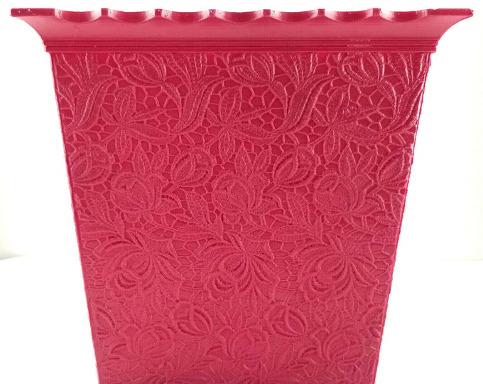 Mid Century Max Klein Floral Cranberry Purple Plastic Waste Basket Trash Can bt
