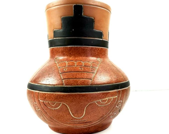 "Vintage Leopoldo De Mexico Signed Redware Pottery Mayan Folk Art Vase Pot 8.25"""