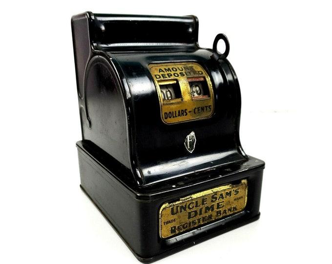 Vintage Uncle Sam's Dime Coin Black Metal Tin Cash Register Bank