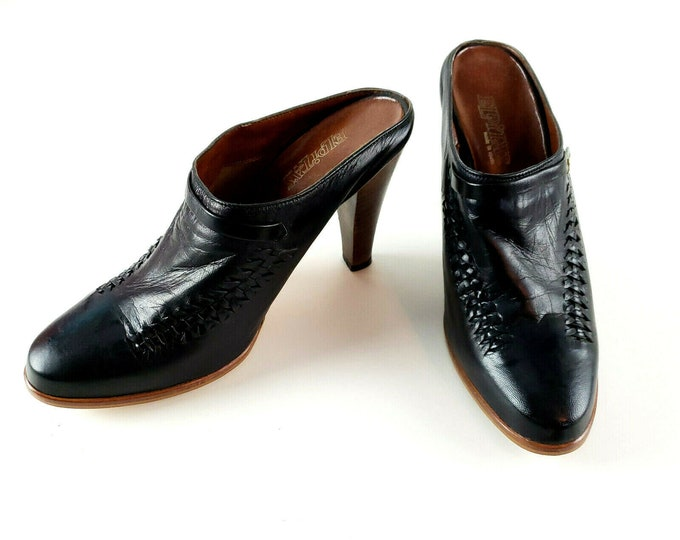 Vintage 1970s Eldita's Spain Black Leather Loafer Mule High Heel Sz 8 1/2
