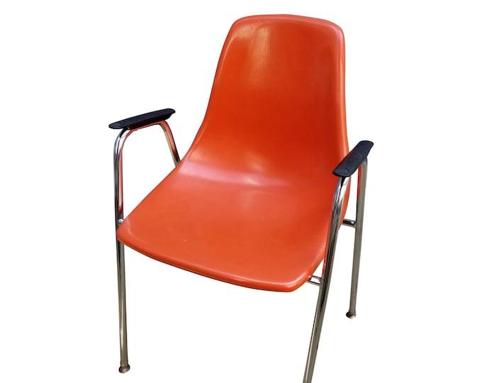 Mid Century Modern  PolyPly Fiberglass Orange Shell Arm Accent Chair Chrome Steel Legs
