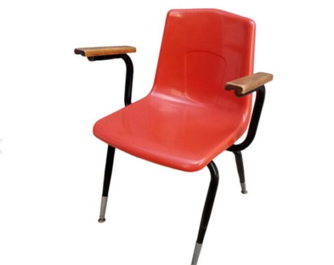 Mid Century Modern Artco Bell Fiberglass Orange Shell Wood Arm Accent Chair