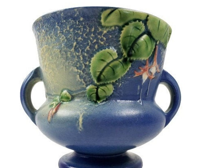 Roseville Pottery Fuchsia Blue Double Handle Vase Planter 646-5 Vintage