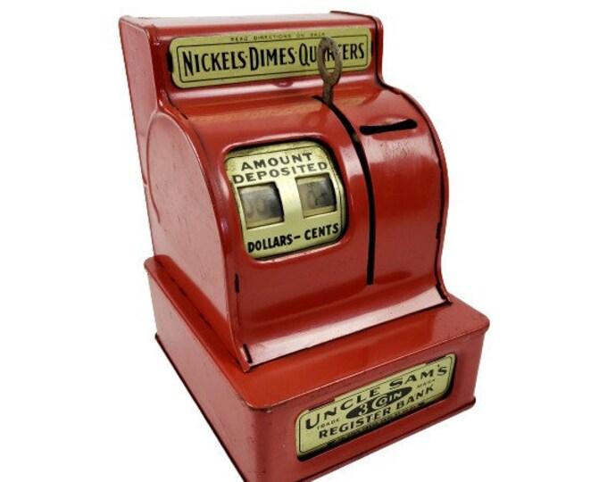 Vintage Uncle Sam's 3 Coin Red Metal Tin Cash Register Bank Nickel Dimes Quarter