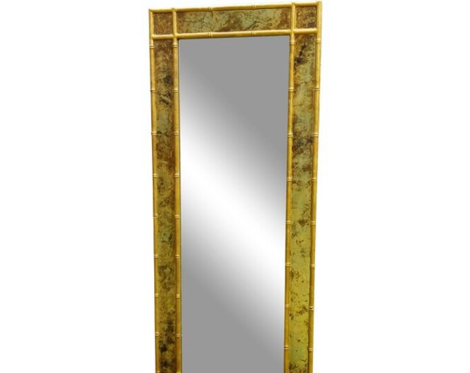 Hollywood Regency Vintage Gold Faux Bamboo Large Hall Entry Mirror 23.5 x 57.5