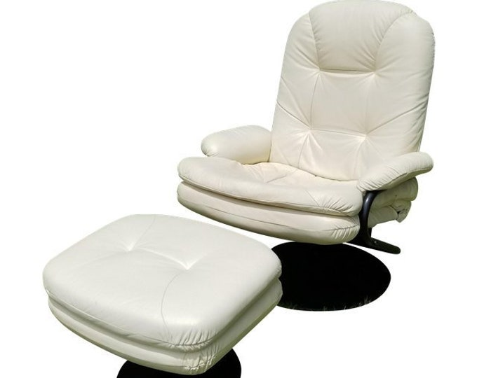 Contemporary Palliser White Leather Swivel Recliner w Ottoman Home Theater Chair-Contact for a Shipping Quote
