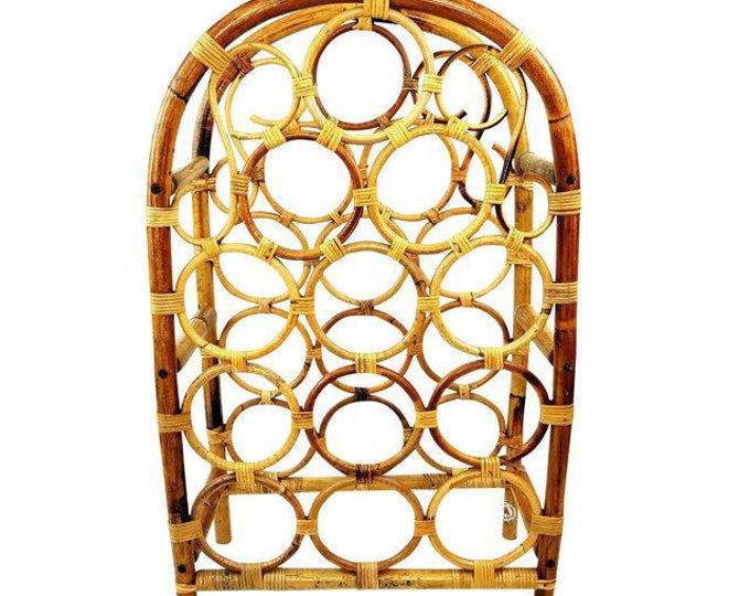Vintage Mid Century MCM Bamboo & Rattan 12 Bottle Tiki Bar Wine Rack