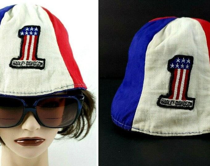 Vintage Harley Davidson Red/White/Blue No 1 Beanie Bucket Biker Cap Hat Rare em