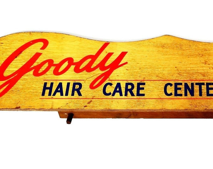 Vintage Goody Hair Care Center Wood Mirror Store Beauty Parlor Salon Display Sign