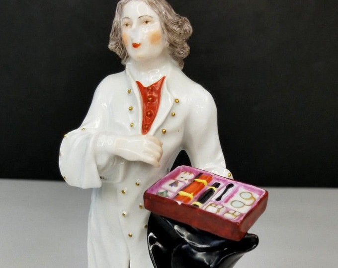 Meissen Porcelain Figurine Traveling Salesman:Made France for Saks 5th Avenue