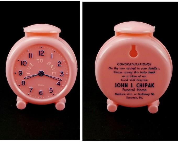 Vintage Pink Time To Save Alarm Clock Baby Bank Funeral Home Morbid Advertising