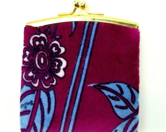 Vintage Emilio Pucci Purple/Blue Floral Print Velvet Coin Purse-Italy nc