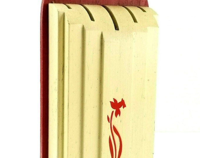 Vintage Nuway Red White Floral Wooden Wall Mount 5 Slot Knife Holder Farmhouse