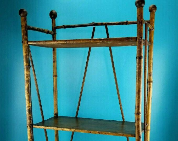 Victorian Antique Tortoise Bamboo Rattan Bookshelf 3 Tier Etagere Curio Shelf
