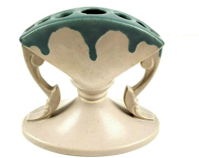 Roseville Pottery Carnelian I Drip Pink Blue Tulip Bud Flower Frog Arranger Vase