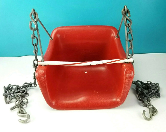 Mid Century Vintage American Playground Red Fiberglass Children Hanging Swing Chair