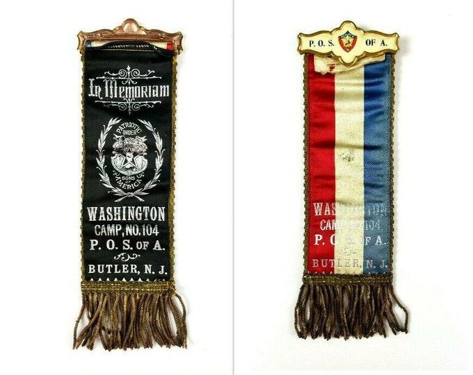 Antique Patriotic Order Sons of America Camp No 104 Butler NJ In Memoriam Ribbon