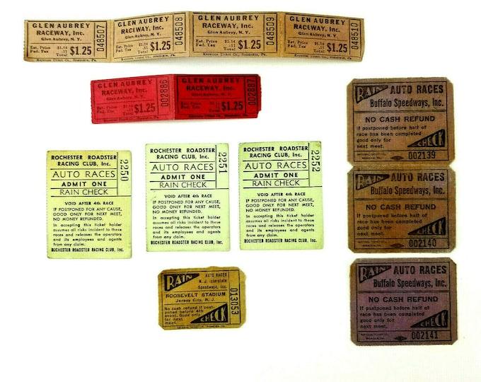 13 Vintage 50/60s Stock Car Dirt Track Racing Tickets/Rain Check New York Jersey