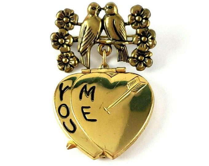 Antique Vintage Love Birds You Me Heart Gold Tone Sweetheart Locket Brooch Pin