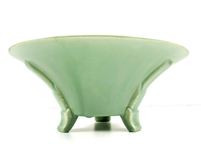 """Art Deco Stangl Art Pottery Green Footed Console Serving Bowl 8.5"""" Signed"""