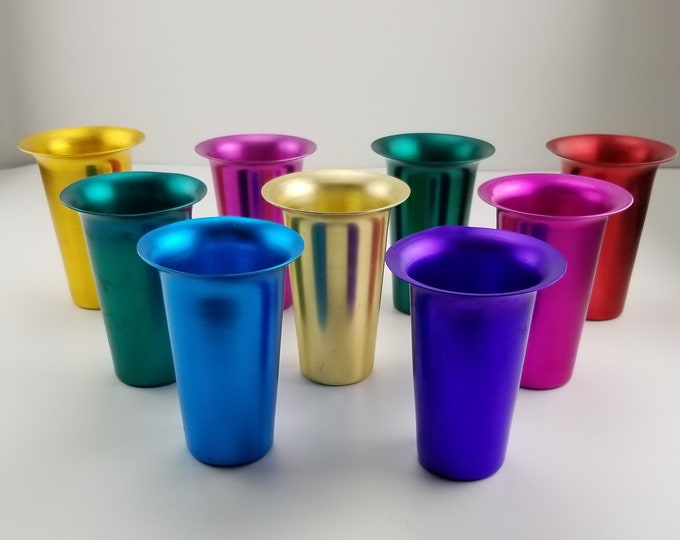 Set of 9 Vintage Bombay India Anodized Aluminum Tumblers