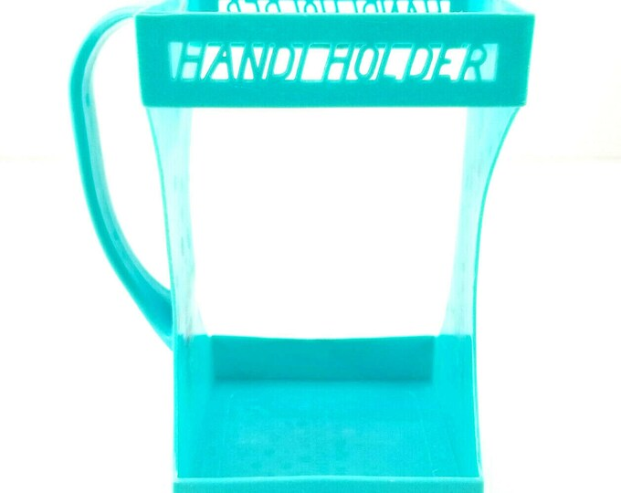 Vintage Aqua/Turquoise Plastic Handi Holder 1/2 Gallon Juice Milk Carton Holder