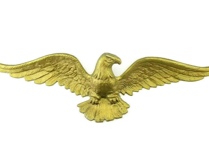 Vintage Gold Cast Aluminum Patriotic Eagle Garage/House/Wall Decor 17.5""