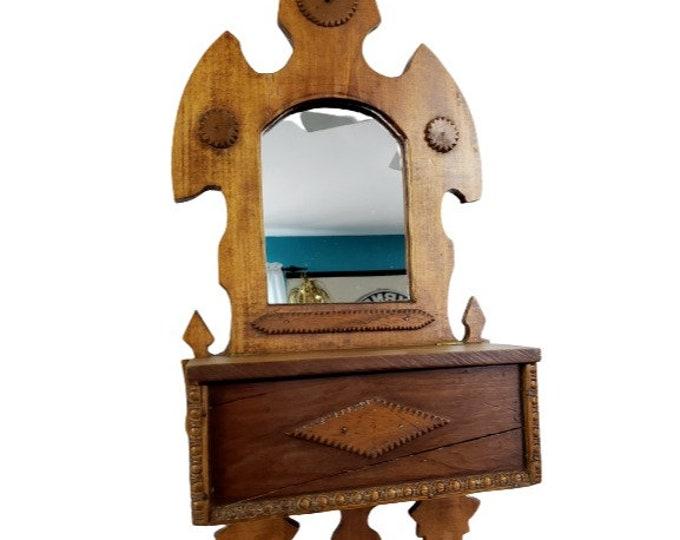Vintage Tramp Folk Art Primitive Wooden Mirror Box Shelf Wall Hanging