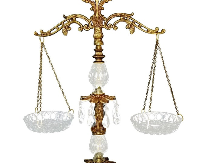 Vintage Ornate Crystal Prism/Brass & Marble Scales of Justice-Lawyer/Office bt
