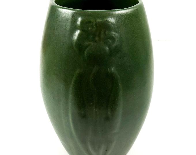 Arts and Crafts Zanesville Ohio Pottery Matte Green Stylized Flower Ovoid Vase