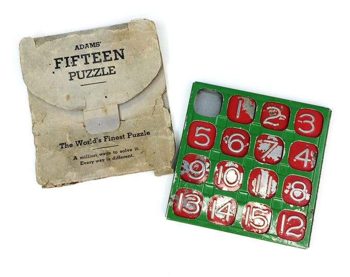 Vintage Adams' Fifteen Number Slide Sliding Puzzle Brain Teaser Travel Game