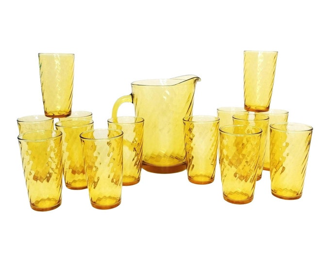 Mid Century Hazel Atlas Continental Can Amber Swirl Pitcher & Tumbler-15 Pc Set