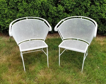 Charmant Pair Of Vintage Woodard Barrel Back Mesh White Wrought Iron Patio Chairs Contact  For Shipping Quote