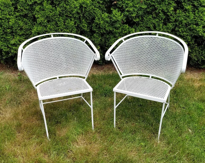 Pair of Vintage Woodard Barrel Back Mesh White Wrought Iron Patio Chairs-Contact for Shipping Quote