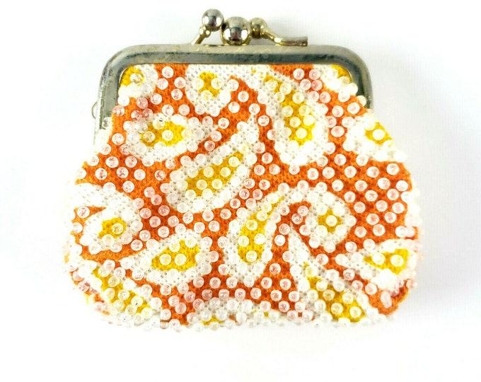 Vintage Retro Orange Yellow Paisley Plastic Beaded Change Coin Purse
