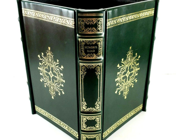 Handtooled Green Leather Homer's Iliad Book Library Wastebasket Scully & Scully