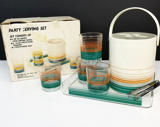 Vintage NOS Phoenix 7 Pc Tiki Bar Patio Party Set-Ice Bucket/Tumblers/Tray bt