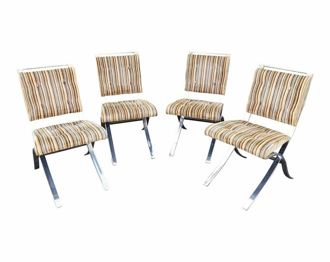 Mid Century Modern Heavy Chrome Striped Velvet Dining Room Chairs-Set of 4-Local Pick Up Only